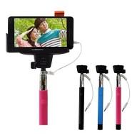 自撮り棒 セルカ棒 cable take pole スマホ自撮り棒(セルフィースティック)Bluetoothよりも簡単便利! 設定不要、手元でワンタッチ撮影 有線自分撮りスティック 一脚 モノポッド セルフィースティック