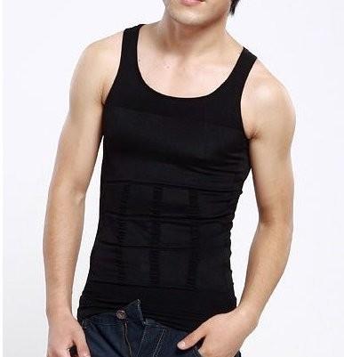 全米TV通販で大話題!Slim N Lift Men メンズ補正下着!タンクトップ シャツ Tシャツ 2カラー ブラック 黒 ホワイト 白 ダイエット 下着 メンズ インナー-1