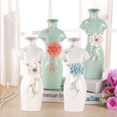 チャイナドレス型花瓶 磁器 陶磁器製花器 中国風陶磁器製花瓶 置物-1