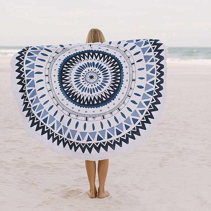 ビーチタオル ラウンド タオル Beach フリンジラウンドタオル ビーチタオル タオル ビーチ 大判 お洒落 円形 丸いタオル round towel-1