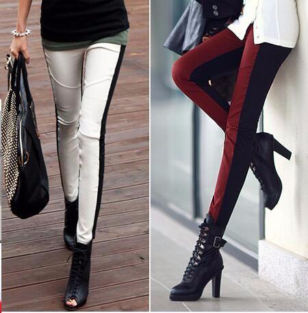 韓国スタイルは緩さの腰の女性のレギンスをつなぎ合わせます-1