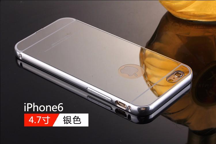 <国内発送>iPhone6/6S アルミバンパー鏡面バックプレート付
