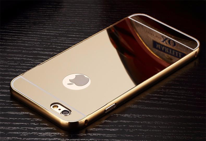 <国内発送料無>iPhone5/5Sアルミバンパーケース鏡面バックプレート付