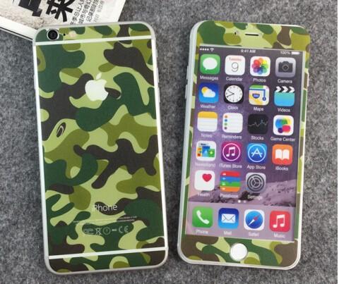 <国内発送送料無>iphone6/6S plus 9H強化ガラスフィルム前後【迷彩】