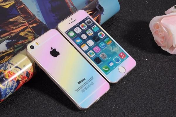 <国内発送料無>iphone5&5S9H強化ガラスフィルム前後 虹0.2MM