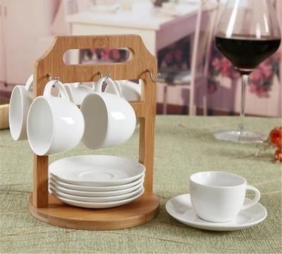 カップ&ソーサーセット 洋食器セット スタンド付き 小 竹 陶器 オシャレ 可愛い 自然 ファッション 白い食器 ホワイト-1