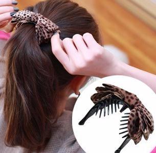 ヘアクリップ べっ甲風 ドット 程よい可愛さをプラス♪艶やかなリボンのヘアクリップ「ヘアアクセサリー 髪飾り 簡単ヘアアレンジ」