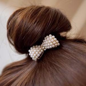 ヘアゴム パールモチーフリボン「ヘアアクセサリー 簡単ヘアアレンジ まとめ髪」清楚で上品な印象の大人っぽいパールを楽しむ-1