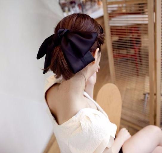 大きなリボン シルク  サテン 優雅 「ヘアアクセサリー 髪飾り 簡単ヘアアレンジ」-1