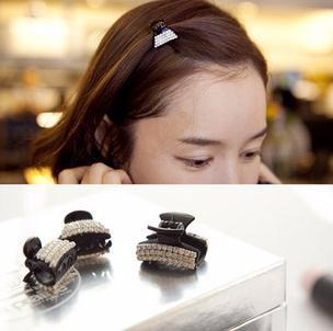 ヘアクリップ ブラックシリーズ クリスタルモチーフ 「ヘアアクセサリー 髪飾り 簡単ヘアアレンジ」