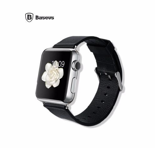 「正規品」 Apple Watch 38mm用 本革 レザー時計ベルト(黒)-1