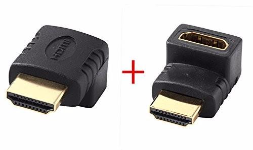 HDMIケーブル変換アダプタ オス/メス 90度+HDMIアダプタ270度(L型下+上 2 pc set)-1