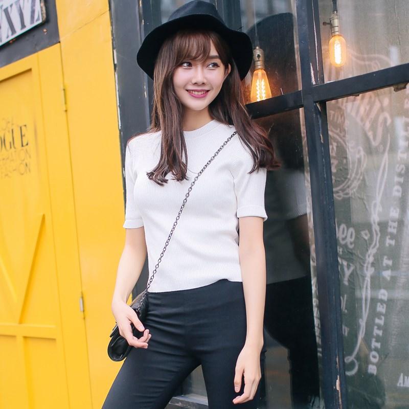 アパレルファッションレディースシンプル可愛い半袖Tシャツ-1