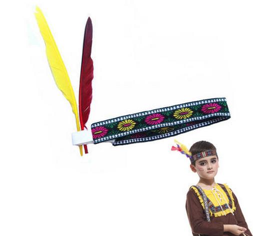ハロウィン  頭飾り COS道具 インディアン  美しいカラー 鳥の羽 コスプレ ハロウィン用品 羽 変装 仮装 ヘッド-1