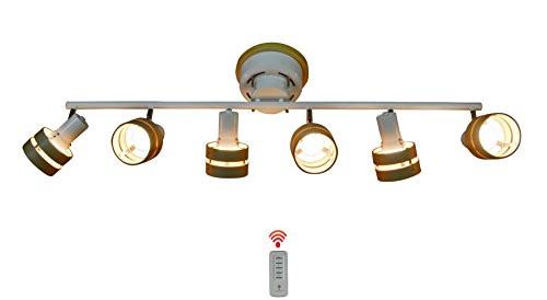 『Newtoya』 spotlight シーリングライト リモコン対応 壁電源で簡単切り替え ウッドサークル6灯 2環ウッドシェード (E26LED電球&蛍光灯対応) (ホワイト×ナチュラル) 【工場直販店】-1