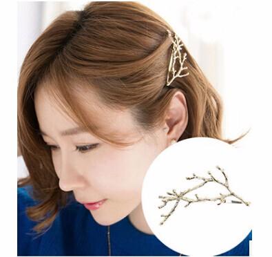 ヘアピン ゴールド/枝のモチーフ 「ヘアアクセサリー 髪飾り 簡単ヘアアレンジ」-1