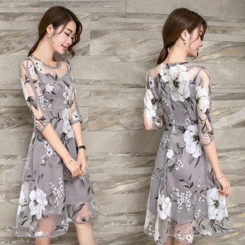 長袖Tシャツプリントオーガンザのドレス-1