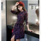 新しいスリムチェック柄の長袖レースのドレスの韓国語バージョン-1