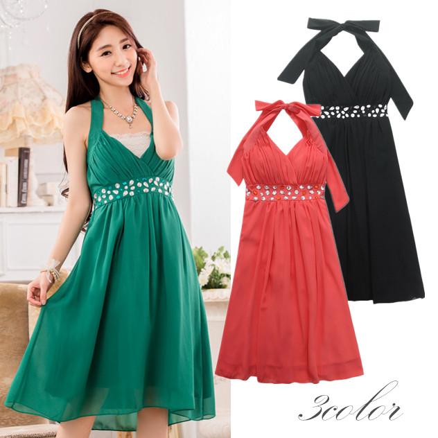 9fc537b72bca5 大きいサイズレディース ビジュー付きホルターネックドレス 結婚式、披露宴、パーティードレス シフォン素材