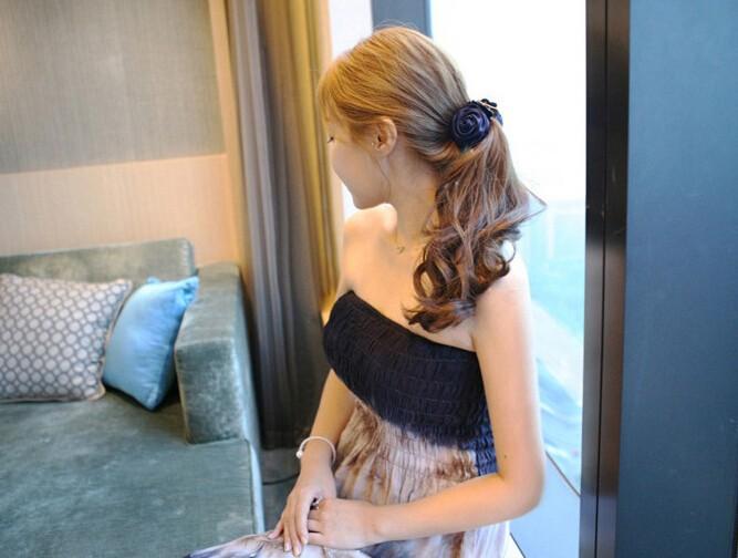 ヘアクリップ 韓国風 布づくり ダイヤ付きタイプ  ヘアアクセサリー