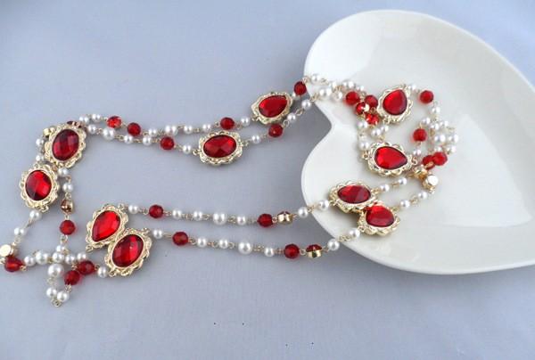 パール&宝石のネックレス 150cm