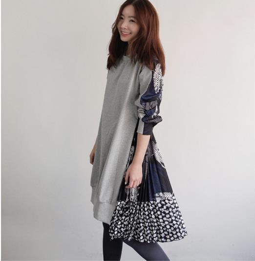 秋冬ファッション切り替えシフォンで韓国の長いセクションプリーツゆったりワンピース-1