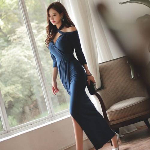 気質セクシーなホルタースタイルのドレスのスリットスリムパッケージヒップドレス