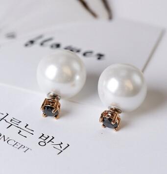 ピアス/イヤリング パールモチーフ 宝石付き 2way使える 3色-1