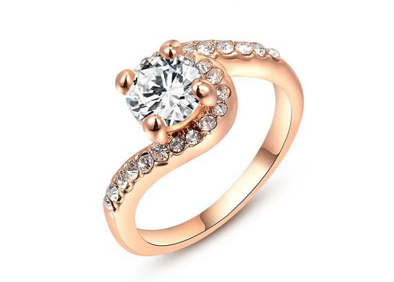 クリスタル指輪/リング ハグモチーフ ローズゴールド-1