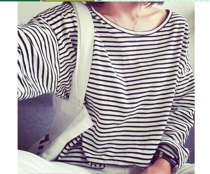 学生のストライプ丸首长袖女tシャツ-1