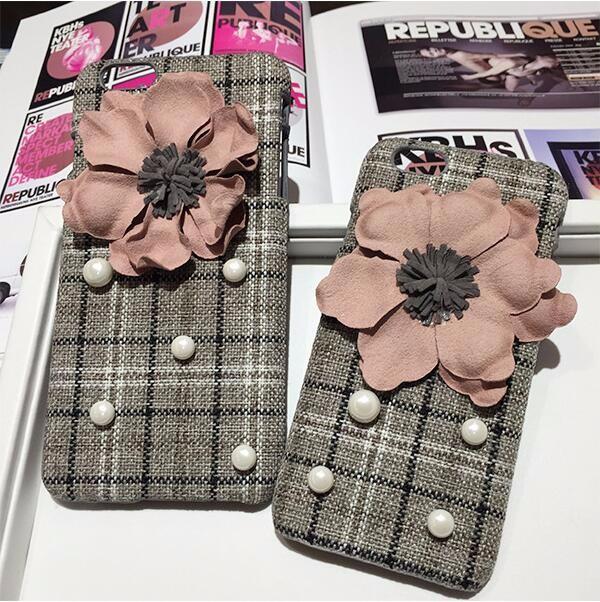 携帯ケース チェック柄モチーフ 花とパール付き iPhone6/6plus