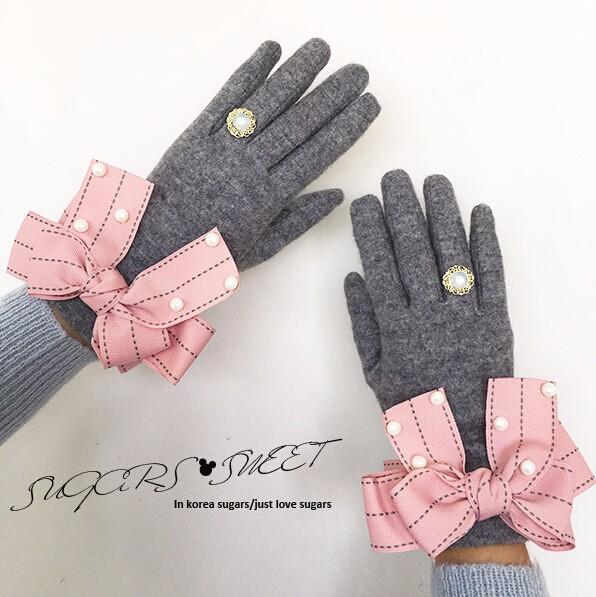 ピンクリボン付き 上品な手袋/グローブ 2016秋冬新作