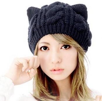 ☆2017AW新作☆猫耳モチーフのニット帽子 6色