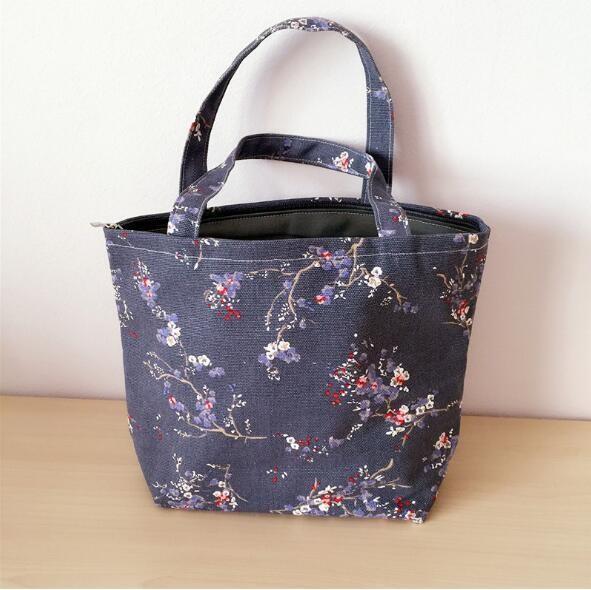 帆布バッグ 梅の花モチーフ 手作りハンドバッグ 麻綿