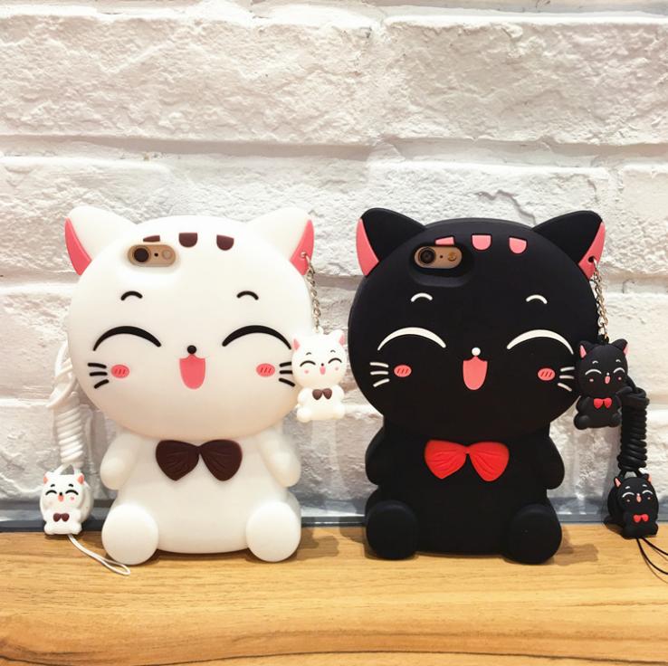 【iphone用保護ケース】  かわいいネコカバー   にこにこ猫   2色-1