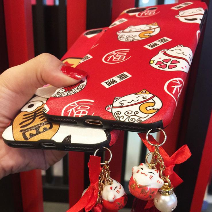 【iphone用保護ケース】  招き猫  シリカゲルカバー    2型