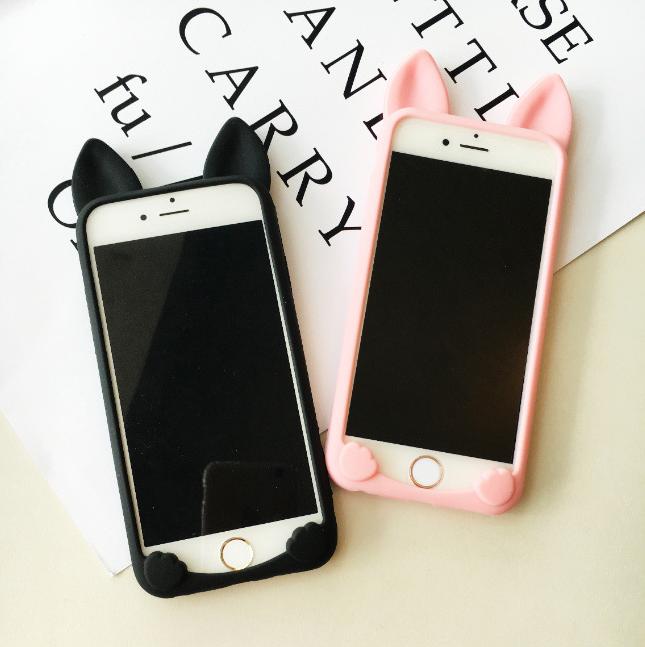 【iphone用保護ケース】  カラフル猫耳カバー    4色   シリカゲル-1