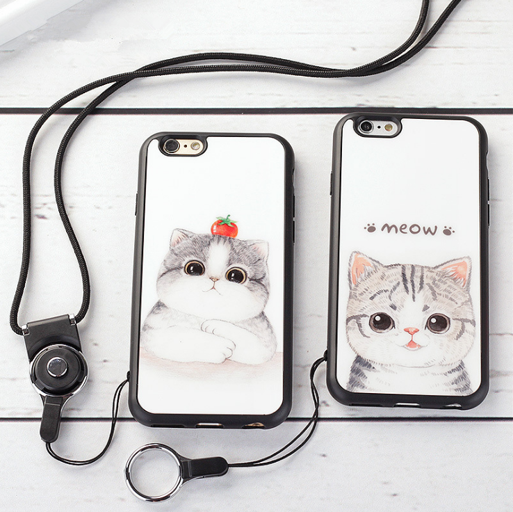 【iphone用保護ケース】可愛いネコモチーフ ストラップ付属-1
