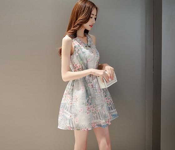 新型女装甘い人形をプリント欧根紗の無袖ワンピース