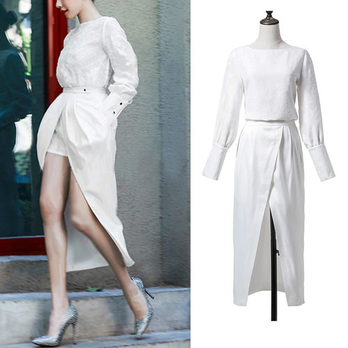 欧米の2017春服の新しいボートネックの長袖のジャカードの上着+フェイクのショート・パンツのマキシのスーツ