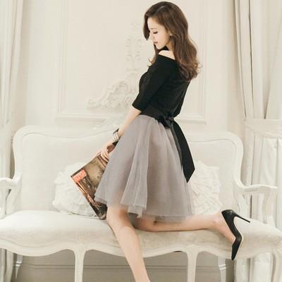 新作    シフォン   ハイウエスト   ぼうぼうとしているスカート   黒い薄絹のスカート    スカート    スーツ