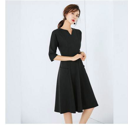 OLレディースファッションのAラインスカートの七分袖のロング丈のスリムの有名な令嬢のワンピース