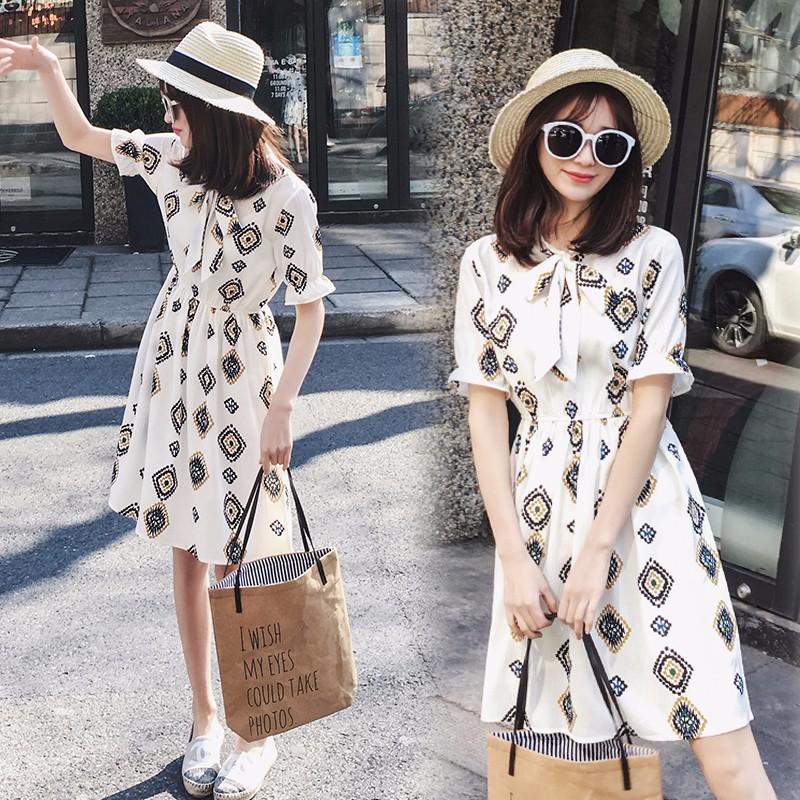 韓国ファッション めちゃ可愛い 半袖ワンピース シフォンプリントミディアム丈ワンピース リボン付き