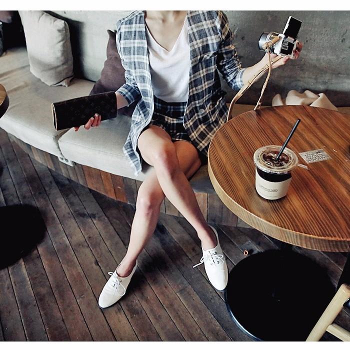 チェック柄レディースファッション 綿麻アウタージャケット&ショートパンツ 2枚上下セットアップ