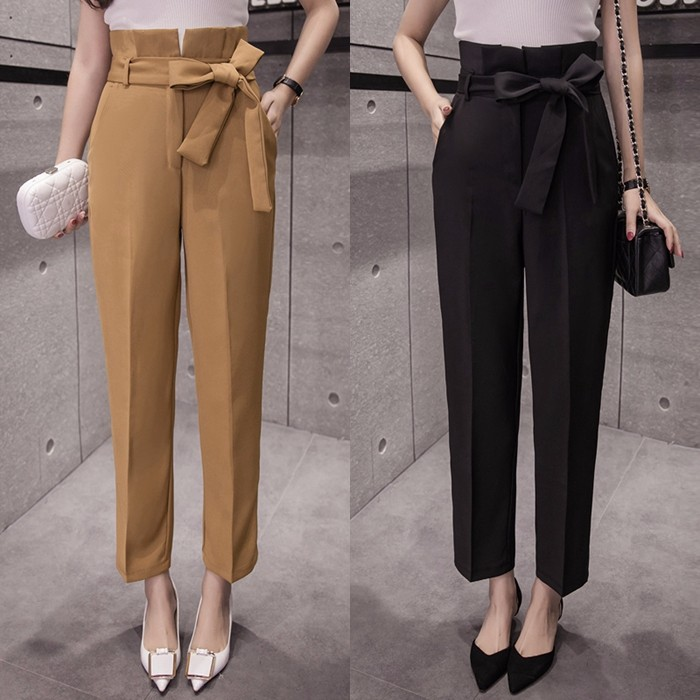 新作 リボン付き ゆったりボトムス ハイウエストパンツ センタープレス タックパンツ 全2色