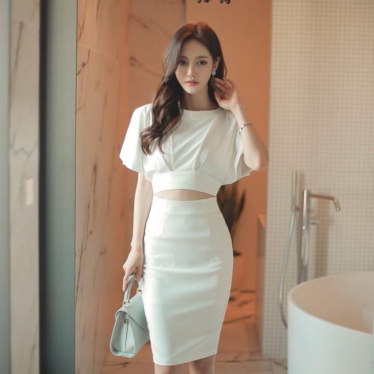 フェイク2点セットのワンピース コウモリ袖 セクシー ドレス 韓国ファッション