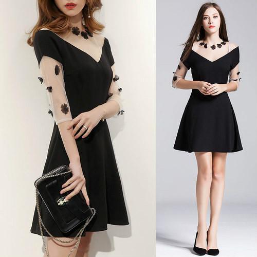 2017夏服の新作の両Vネックの透明なレースのスリム効果のワンピースのミニドレス