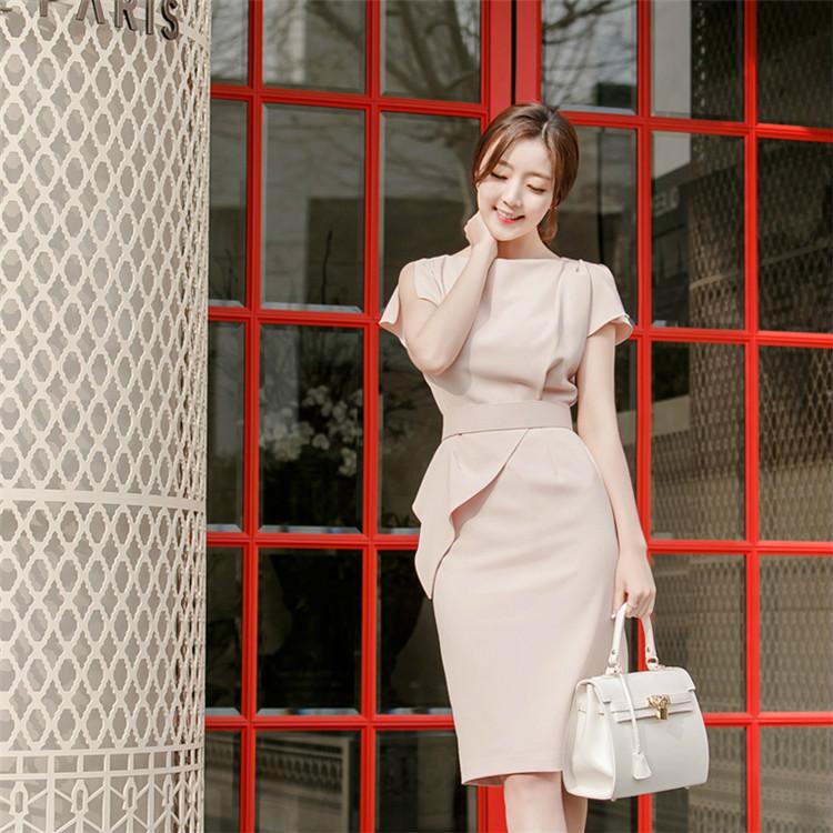 韓国スタイルの流行するワンピースの職場の風格OL