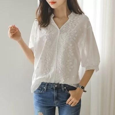 夏上品刺繍シャツ 白シャツ ブラウス トップス/半袖シャツ