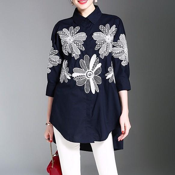 刺繍ゆったりとしたシャツ 前が短い後ろが長い 上品!